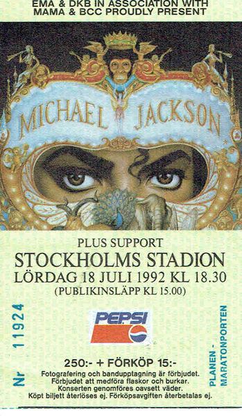 Michael Jackson: Dangerous World Tour Concert Ticket, Stockholm, Sweden